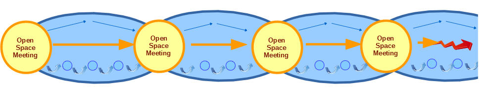 Diagram of periodic Open Space events engaging all in reinvention - Caterfly model